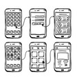 ui mobile app wireframe doodle vector image vector image