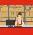 warehouse indoor space with goods on shelf and vector image vector image