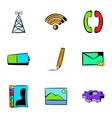 web technology icons set cartoon style vector image vector image