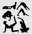 yoga training sport male and female silhouette vector image vector image
