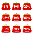 red purse with discount on white background for vector image