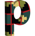 3d font letter p vector image vector image
