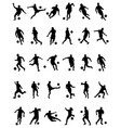black silhouettes of football players vector image vector image