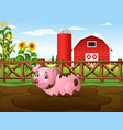 cartoon pig playing a mud puddle in the farm vector image vector image