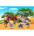 Children dancing in the farm vector image