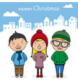 children with books singing christmas songs vector image vector image
