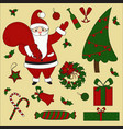 christmas items and santa set new year vector image vector image