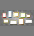 colorful picture frames on transparent background vector image vector image