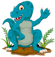 cute tyrannosaurus cartoon sitting for you design vector image vector image