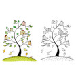 doodle houses on tree branches vector image vector image