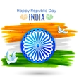 Dove flying with Indian tricolor flag showing vector image vector image
