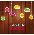 Easter sale poster with hanging price stickers vector image vector image