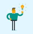 excited caucasian businessman having business idea vector image vector image