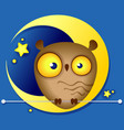 funny owl on background moon vector image vector image