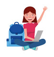 girl with laptop and backpack school vector image vector image