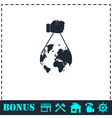 Globe with hand icon flat vector image vector image