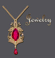 gold pendant with filigree and precious stone vector image vector image