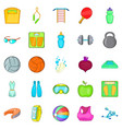gymnasium icons set cartoon style vector image