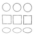 hand drawing circle oval square line sketch set vector image
