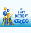 happy birth day with blue present boxes party hat vector image vector image