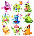 Happy monsters celebrating a birthday vector image vector image