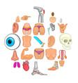 human body icons set cartoon style vector image vector image