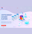 isometric cryptocurrency exchange landing page vector image vector image