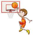 Man shooting basketball in the hoop vector image vector image