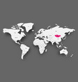 mongolia pink highlighted in map of world light vector image vector image