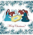 nativity scene with saint family and animals vector image vector image