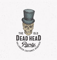 old dead head party vintage style halloween logo vector image vector image