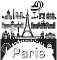 paris city skyline 9 vector image vector image