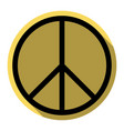 peace sign flat black icon vector image
