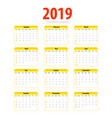 printable calendar 2019 simple template halftone vector image vector image