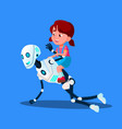 robot playing with little kid girl sitting on his vector image vector image