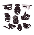 set icon of cctv cameras vector image
