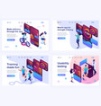 set isometric landing pages concept testing vector image