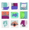 Set of 9 creative universal cards Hand Drawn vector image