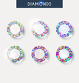 Set realistic diamond with reflex glare and shadow