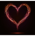 Sparkling heart shape on dark background vector image