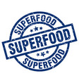 superfood blue round grunge stamp vector image vector image