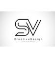 sv s v letter logo design in black colors vector image