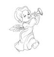 Toddler angel making music playing trumpet vector image