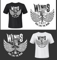 tshirt print with winged car engine valve mockup vector image vector image