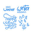 winter holidays lettering and doodle elements for vector image vector image