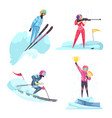 winter sports concept icons set vector image vector image