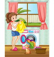 Woman doing laundry in the house vector image vector image