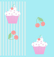 seamless pattern with cupcakes and cherries vector image