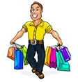 happy man spectacled with packages in hand vector image