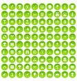 100 hobby icons set green circle vector image vector image